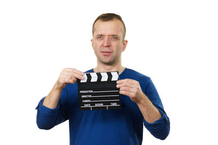 Film producer guy holding movie clapping slate. Man working in arts and entertainment