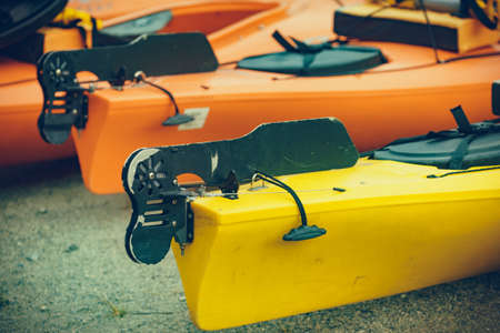 Kayaks on water shore. Travel, holidays and active lifestyle. Imagens