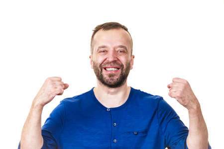 Funny adult man, guy folling around gesturing with hands. Positive emotions concept. Stock Photo - 124767170