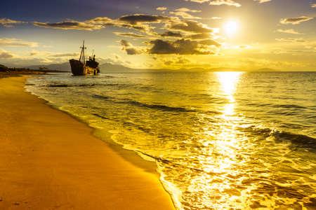 Greek coastline with the famous rusty shipwreck Dimitrios in Glyfada beach near Gytheio, Gythio Laconia Peloponnese Greece.