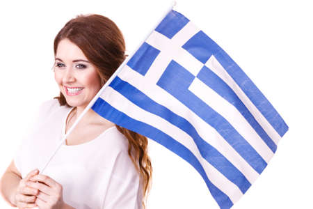 Brunette curly long hair young woman with greek waving flag, national symbol of Greece, isolated on white.