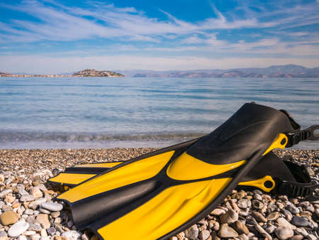 Swimming equipment flippers fins lying on stone beach sea shore. Summer vacation fun concept.