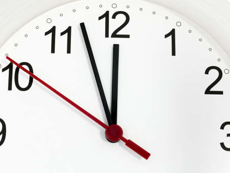 Closeup white clock ticking showing twelve hours. Time concept.