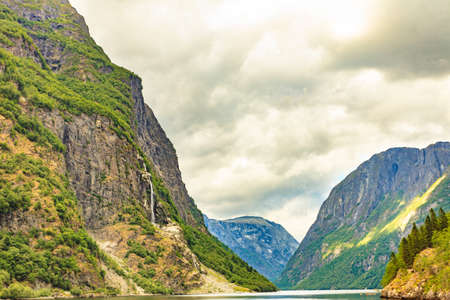 Tourism vacation and travel. Beautiful view on summer fjord Sognefjord, Gudvangen Norway Scandinavia.