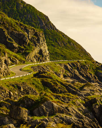 Landscape on Andoya island. Mountainside with road. Vesteralen archipelago, Norway.