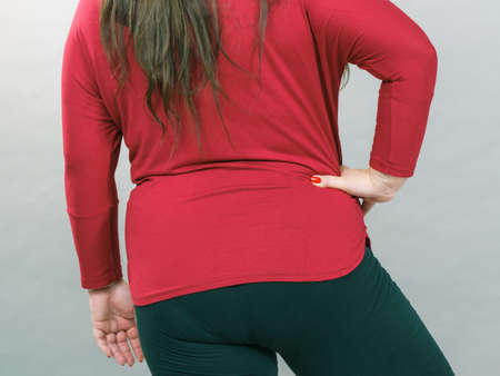 Adult plus size woman fat body. Back view hips and backside.