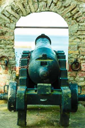 Fort Christiansoe naval fortress near island Bornholm in the Baltic Sea Denmark Scandinavia Europe. Detail view of cannon