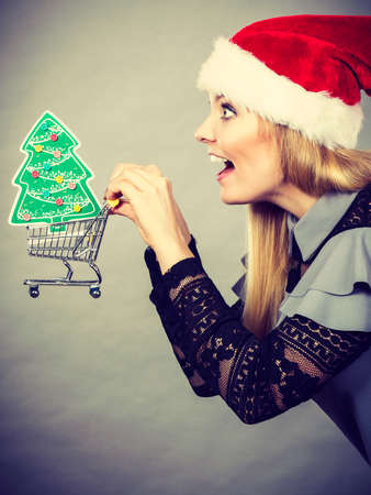 Happy woman wearing Santa hat holding shopping basket cart with little christmas tree inside running for sale.