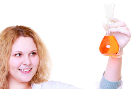 Chemist woman, girl student, female laboratory assistant or scientific researcher with chemical glassware test flask. Experiment, research in progress, isolated on white Stok Fotoğraf