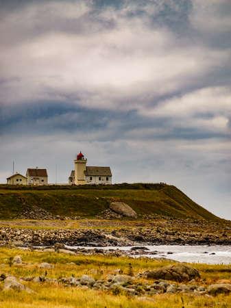 Coastal landscape. Obrestad lighthouse in south Norway, Norwegian national tourist county route road 44 Jaeren.