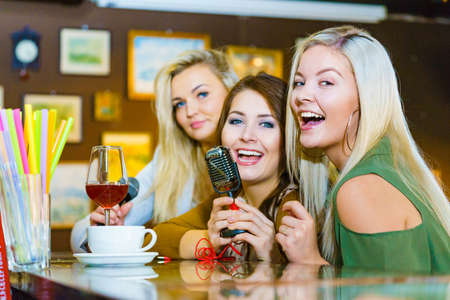 Women singing songs in karaoke club. Female friends with microphone having fun. Party, celebration, nightlife and people concept. Stock fotó