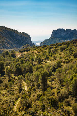 Spanish mountains landscape and view of sea coast in distance. Costa Blanca holiday