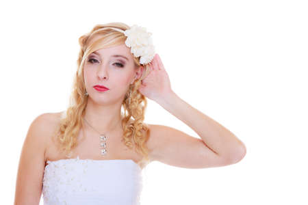 Wedding celebration concept. Happy bride posing for marriage photo waiting for the big day. Stok Fotoğraf - 133967035