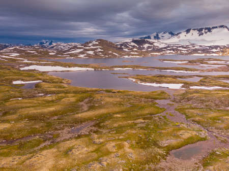 Summer mountains landscape in Norway. National tourist scenic route 55 Sognefjellet. Aerial view Zdjęcie Seryjne