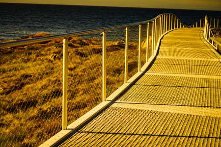 Eldhusoya walking path hiking area. Atlantic road Atlanterhavsvegen in Norway Europe. Norwegian national route. Tourist attraction. Zdjęcie Seryjne