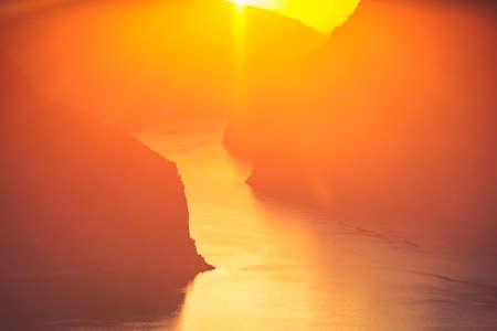 Aurlandsfjord fjord landscape at sunset, Norway Scandinavia. National tourist route Aurlandsfjellet Zdjęcie Seryjne