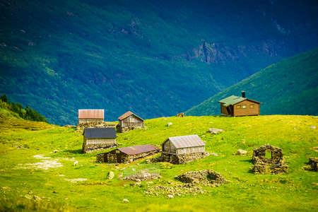 Norwegian old houses hytte, mountains farm. Summer landscape in Norway, Scandinavia Zdjęcie Seryjne