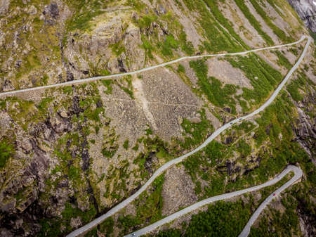 Aerial view. Trolls Path Trollstigen or Trollstigveien winding scenic mountain road in Norway Europe. National tourist route.