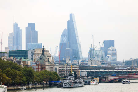 LONDON, UNITED KINGDOM - SEPTEMBER 20, 2014: River Thames with boat trips, London