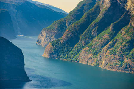 Aurlandsfjord fjord landscape with cruise ship, Norway Scandinavia.