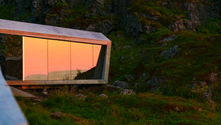 Mirrored toilet at Bukkekjerka rest stop location, viewing point. Andoya island Vesteralen archipelago, Norway.