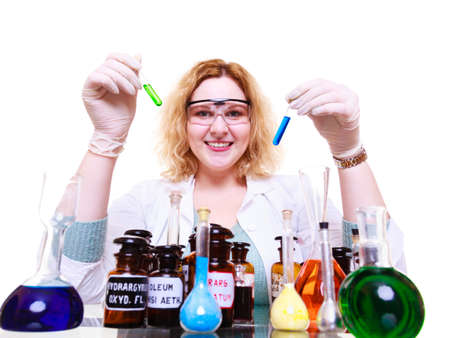 Science and education. Scientist at school laboratory. Girl with many chemical beakers. Student with flask. Biology experiment, sample formula, chemistry research results.