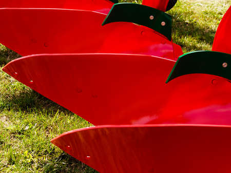 Agriculture equipment. Plough agricultural machinery, detail view.