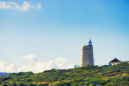 Carbonera Lighthouse located on Punta Mala, La Alcaidesa, Spain. Lantern overlooks the Strait of Gibraltar.
