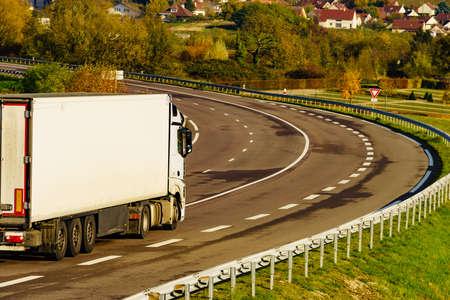 Cars semitrailer trucks on interurban freeway road in France Stock fotó
