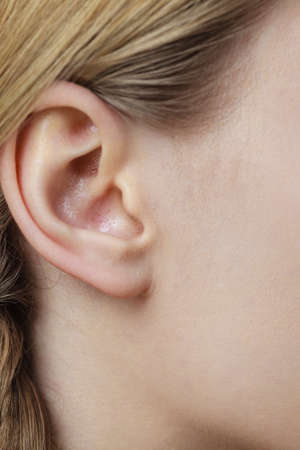 Detail of the head with female human ear and blonde braid hair, close up Archivio Fotografico
