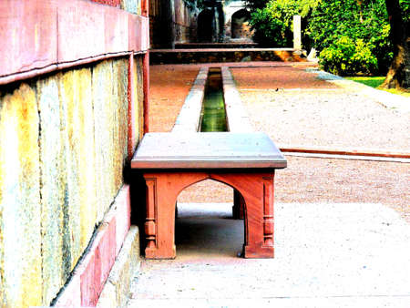 mughal: an old mughal art bench in char bagh gardens in delhi, india