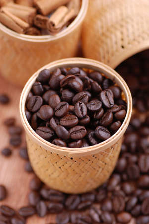 coffee beans in the basket Standard-Bild
