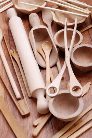 wooden kitchen utensils photo