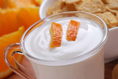 orange-flavored yogurt with fruit pieces in the glass Stock Photo - 12926537