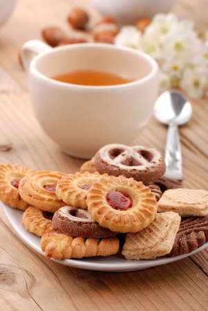 Assorted biscuits on the table for breakfast photo
