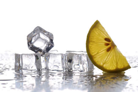ice cubes and lemon slices with white background photo