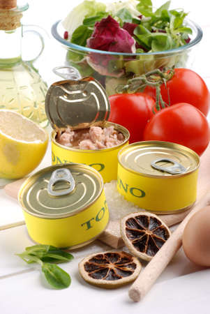 tinned: canned tuna and other ingredients