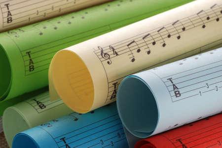 scores: colorful music scores Stock Photo