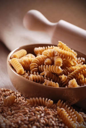 whole wheat: whole wheat pasta in bowl