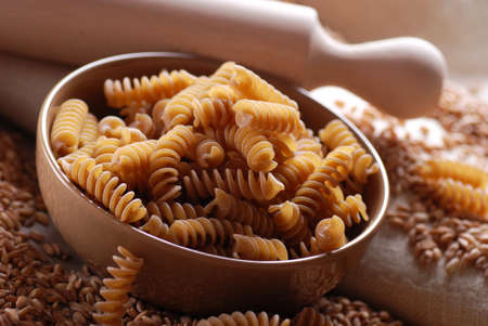whole wheat pasta in bowl