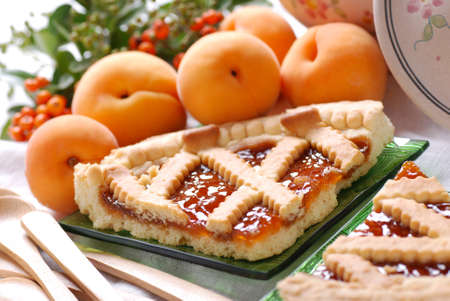 Apricot tart with fresh fruit Stock Photo