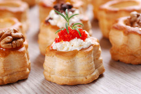 Vol-au-vents filled with red caviar