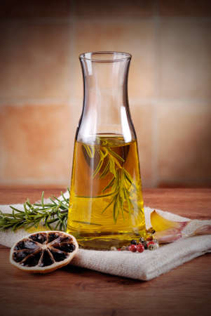 olive oil flavored with spices and other ingredients photo