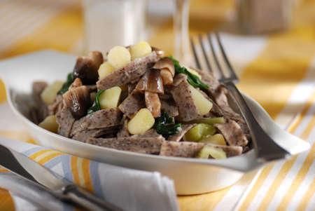 pizzoccheri: pizzocheri - buckwheat tagliatelle, traditional Italian cuisine