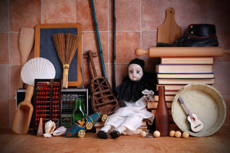 pierrot: objects used on the wooden table