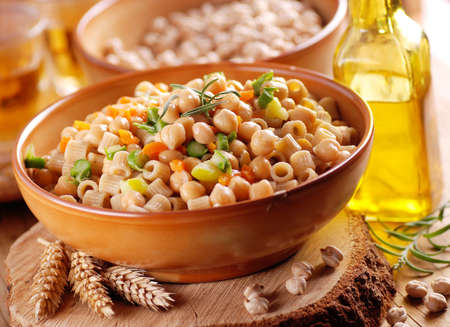 pasta with chickpeas and vegetables - traditional Italian recipe