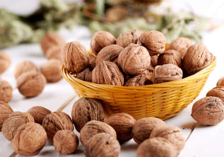 pile of walnuts on the table