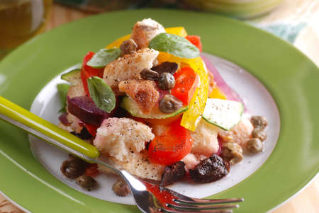 panzanella - traditional Italian salad with peppers, stale bread, cucumbers, olives and capers