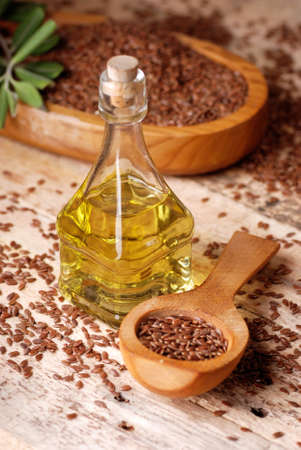 purgative: essential oil of linseed in the small glass bottle Stock Photo