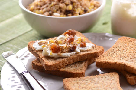 rusk: rusk with cream and granola for breakfast